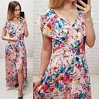 Новинка!!! Жіночна сукня на запах з брошкою, довжина максі, принт маки на пудровом, фото 1