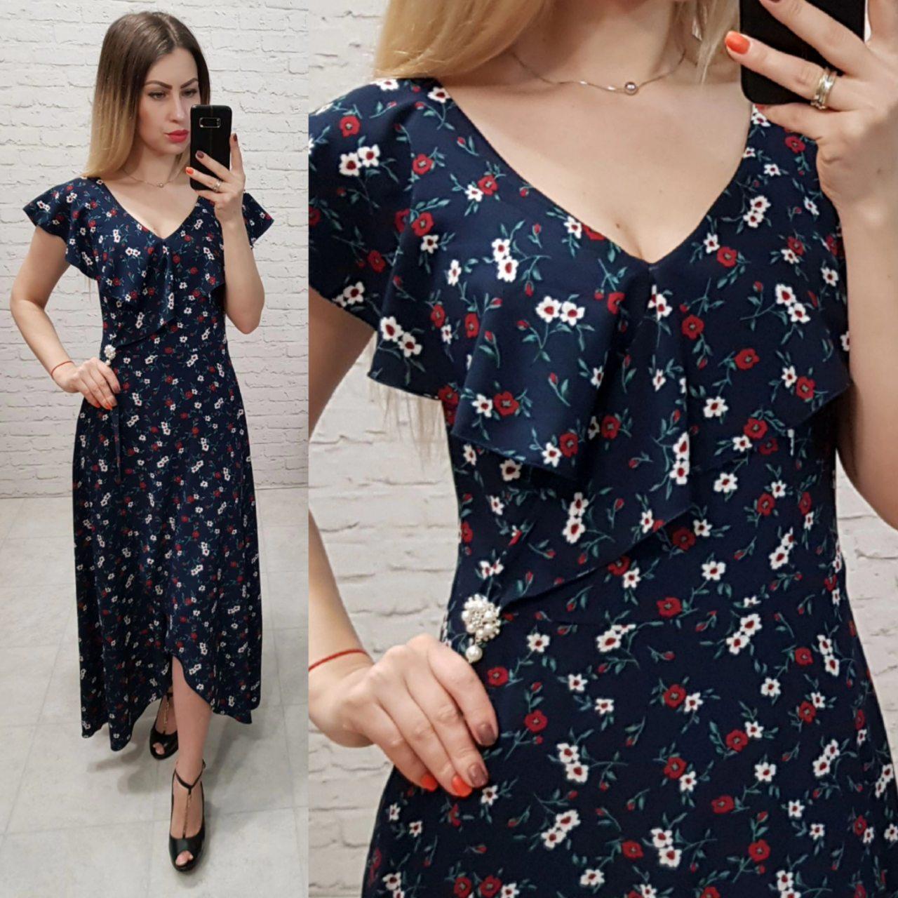 Новинка!!! Жіночна сукня на запах з брошкою, довжина максі, дрібний принт квітка на синьому