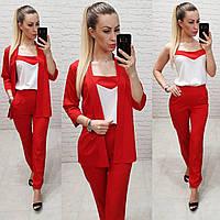 Костюм тройка женский стильный - брюки, майка и кардиган с поясом   арт 165, цвет красный / красного