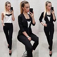 Костюм тройка женский стильный - брюки, майка и кардиган арт 165  черный / черного цвета