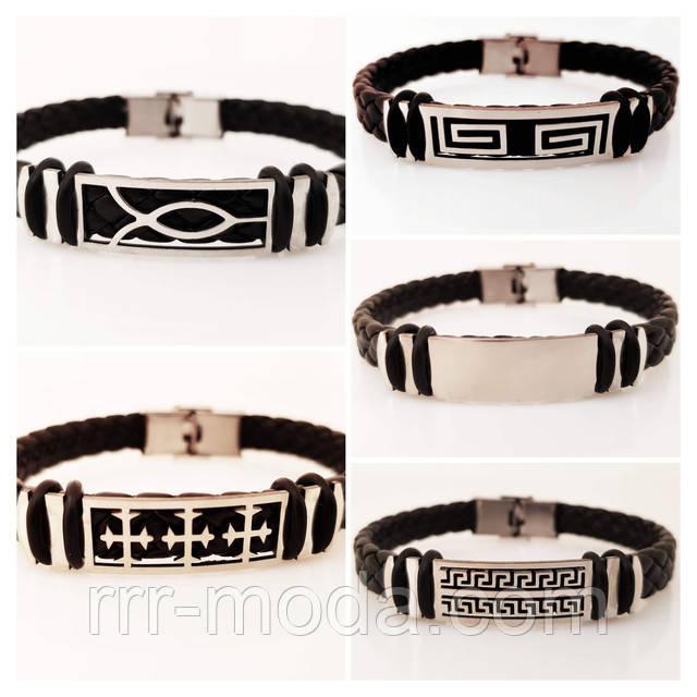 Модные кожаные браслеты для мужчин со сталью оптом.