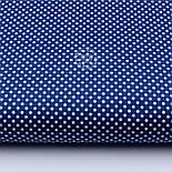 """Лоскут ткани """"Пунктирный горошек"""" белый на синем №1930, фото 2"""