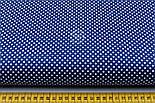 """Лоскут ткани """"Пунктирный горошек"""" белый на синем №1930, фото 3"""