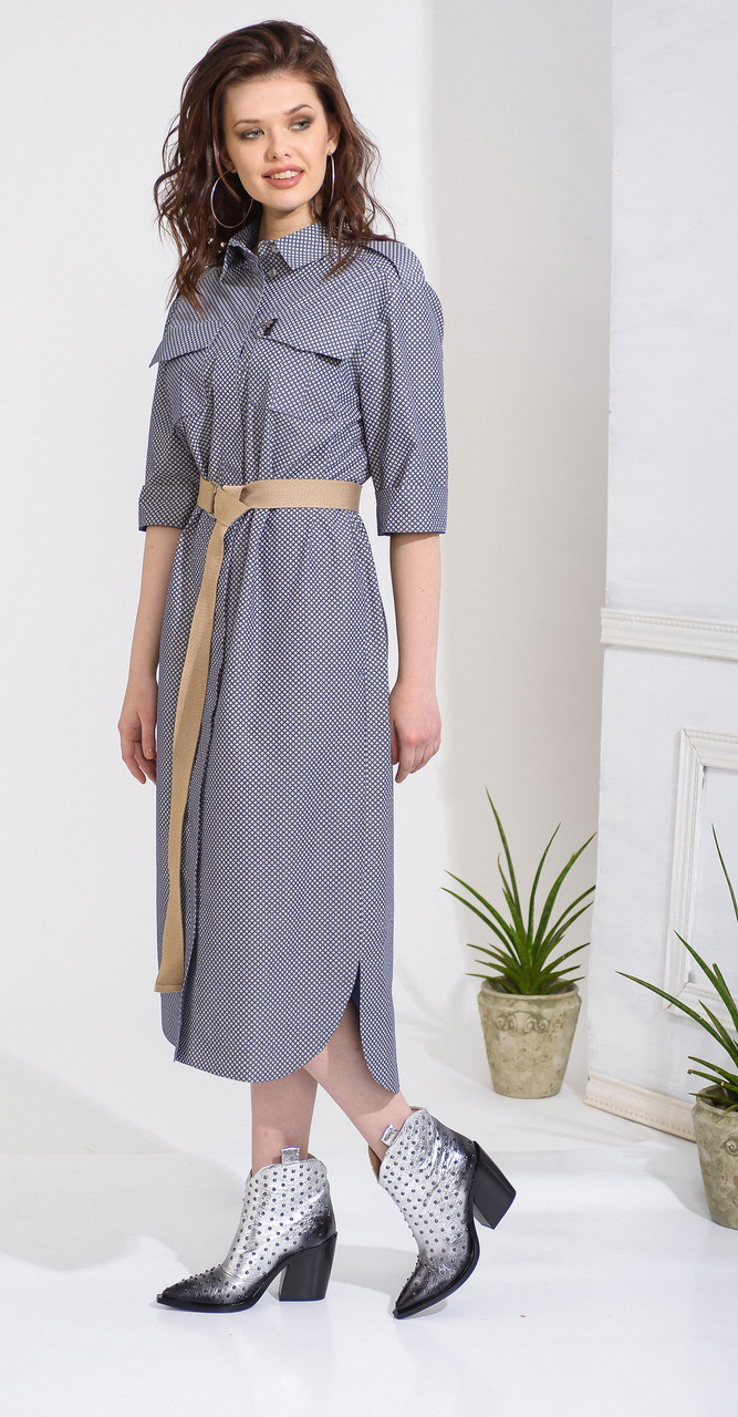 Сукня Anna Majewska-А246 білоруський трикотаж, синій , 50
