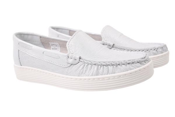 Туфли комфорт Sempre натуральный сатин, цвет серебро