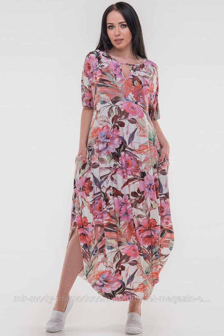 Летнее платье оверсайз зеленый с  розовым цветом купить в Украине  (3 цвета)  (влн)