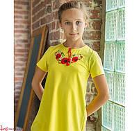 Детская вышитая туника с вышивкой гладью на желтом / Квіткова для девочек на рост 104,116