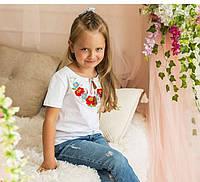 Детская вышитая футболка белого цвета Макова краса для девочек на рост 104,110,116,122,134,140,146