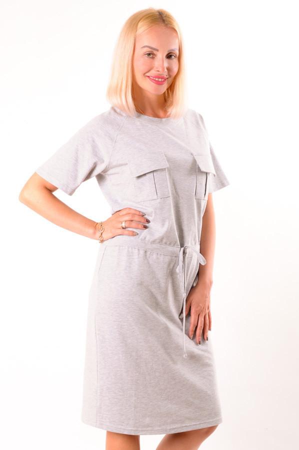 Женское летнее платье  светло серый размеры 40-48