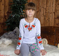 Детская вышитая футболка с яркой цветной вышивкой Маки Волошки на рост 92,98,104,110