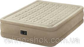 Надувная велюровая кровать Intex 64458(64428),203-152-46,с электро-насосом