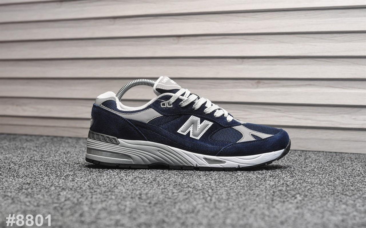 Кроссовки мужские New Balance 991 Deep Blue Silver. ТОП КАЧЕСТВО!!!  Реплика