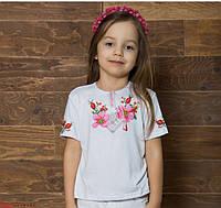 Детская вышитая футболка белого цвета Шипшина для девочек на рост 92,152