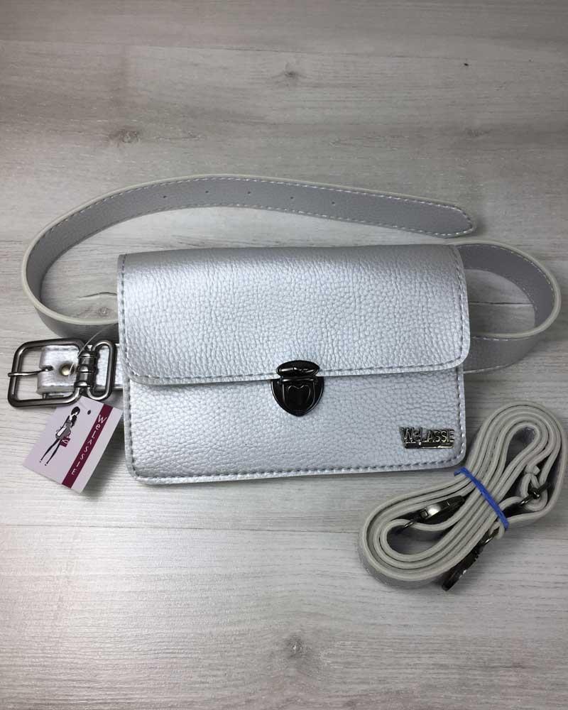 076e9e376abd Женская сумка на пояс- клатч Арья серебряного цвета