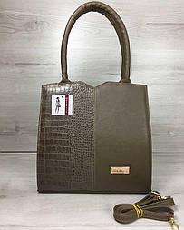 1862d690ea3c Классическая женская сумка Треугольник кофейного цвета со вставкой кофейный  крокодил