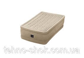 Надувная велюровая кровать Intex (64456),191-99-46 см,с электро-насосом