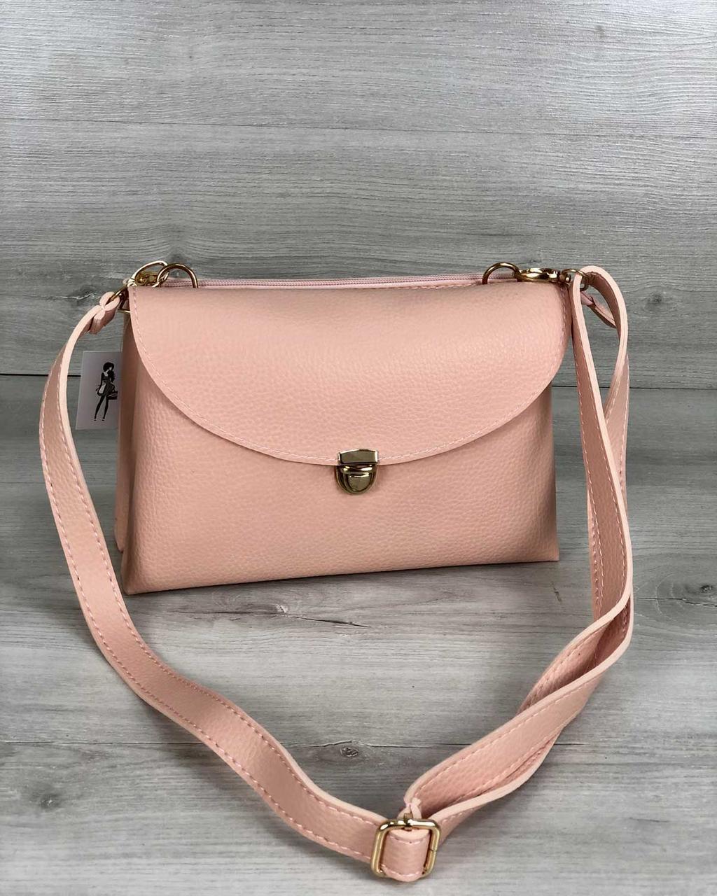 8f8d280a35b1 Молодежная женская сумка Виола пудрового цвета