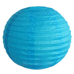 Бумажный шар плиссе 20 см синий