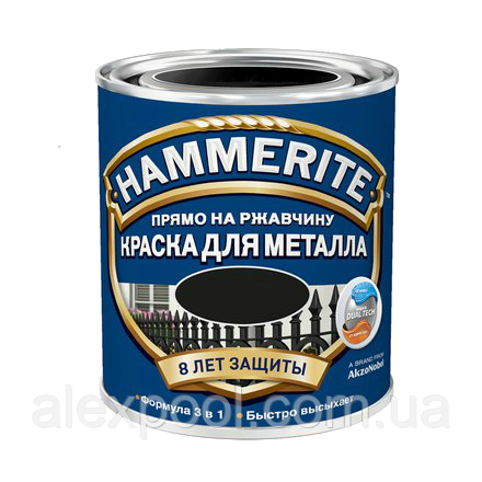 Hammerite молотковая краска по металлу Черная 0,75 л