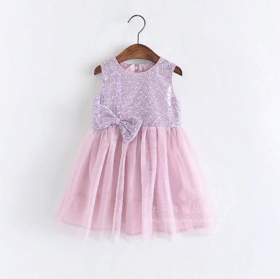 Платье с паетками Бантик (сирень) 104,128,140