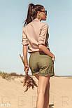 Льняная рубашка с классическим воротником бежевыая, фото 3