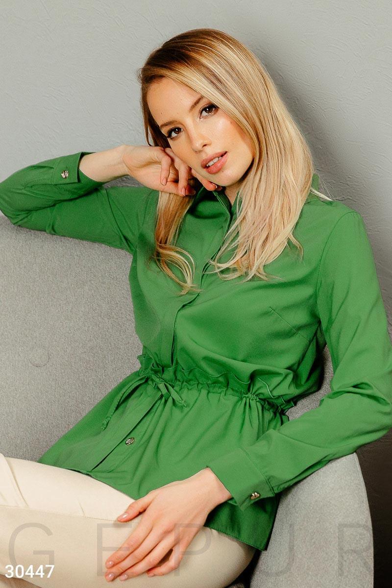 Удлиненная рубашка с завязками на поясе зеленая