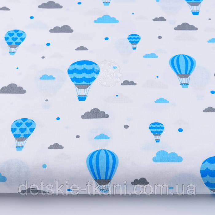 """Бязь польская """"Воздушные шары с облаками"""" голубого цвета № 847"""