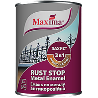 """Эмаль антикоррозийная по металлу 3 в 1 TM """"Maxima"""", гладкая (черная RAL 9005) 0,75 л"""