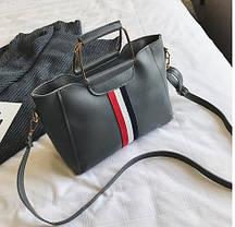 Стильный набор 2в1 сумка с металлической ручкой и клатч, фото 2
