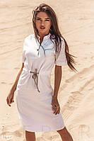 Летнее платье миди из льна на завязках белое