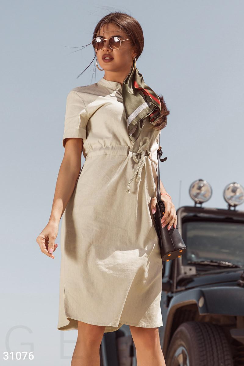 Летнее платье миди из льна на завязках бежевое