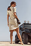 Летнее платье миди из льна на завязках бежевое, фото 3