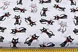 """Ткань хлопковая """"Чёрные коты с красным бантиком"""" на сером фоне (№ 714), фото 2"""