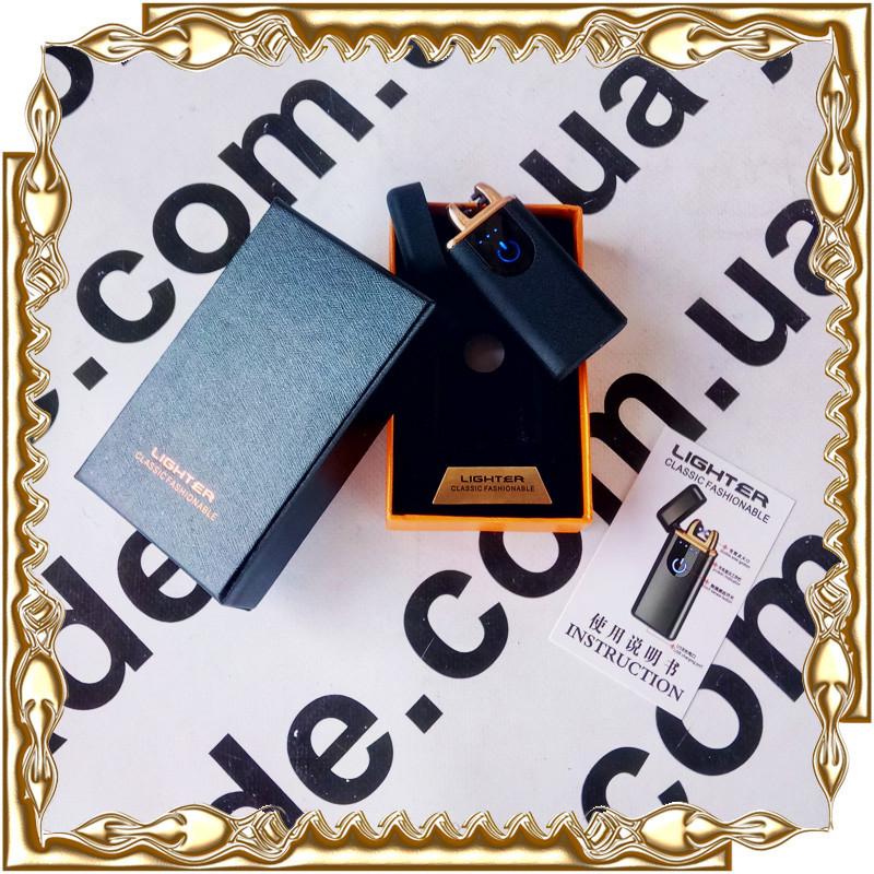 Зажигалка USB Lighter прямоугольная электроимпульсная,черная ZGU170