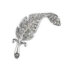 Жіноча стильна брошка перо з камінням Сваровські біла позолота