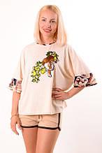 Женский летний костюм  шорты-футболка бежевый Amur tiger размеры 40-46