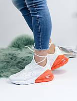 Кроссовки женские Nike Air Max 270 белые оранжевый балон ТОП реплика