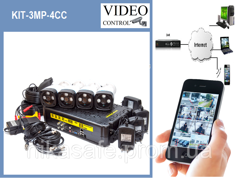 Комплект видеонаблюдения KIT-3MP-4CC
