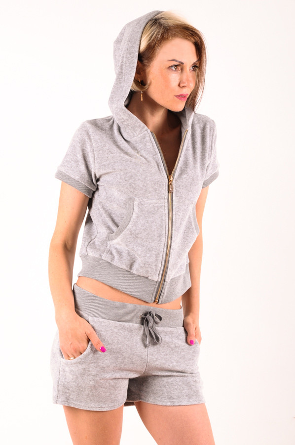 Женский летний спортивный костюм велюр Серый размер 40-44
