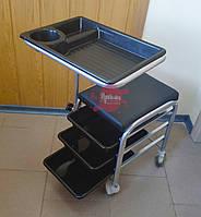 Педикюрная тележка с 3 полочками на колёсиках и подставкой под ногу