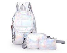 Модный голографический набор 3в1 рюкзак сумка клатч Cry Baby, фото 2
