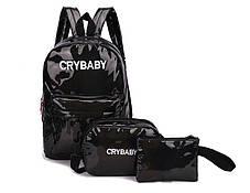 Модный голографический набор 3в1 рюкзак сумка клатч Cry Baby, фото 3