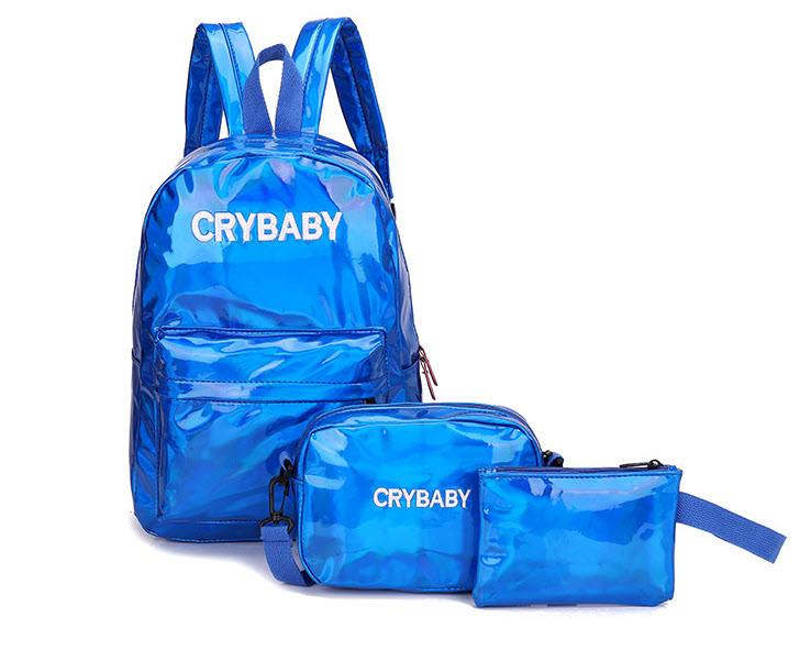 Модный голографический набор 3в1 рюкзак сумка клатч Cry Baby
