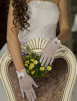 Свадебные перчатки с пальцами (П-п-12)