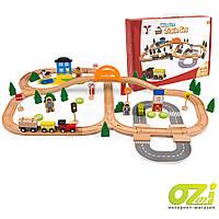 Деревянная железная дорога Wooden Train Set 78 элементов