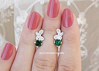 Серебряные серьги Бабочка и камень, фото 1