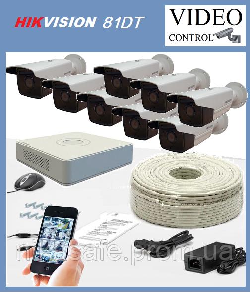 Комплект уличного видеонаблюдения 8 камер HIKVISION 81DT (1980×1080)