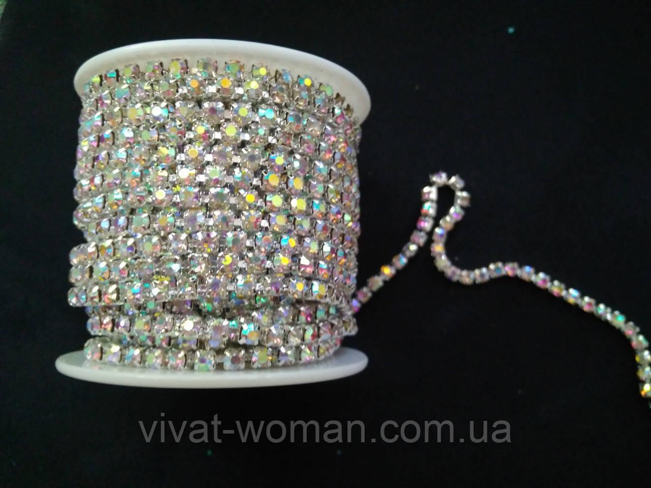 Стразовая цепь silver, Crystal AB, SS12 (3 мм) 1 ряд. Цена за 1м.