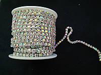 Стразовая цепь silver, Crystal AB, SS12 (3 мм) 1 ряд. Цена за 1м., фото 1