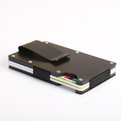 Картхолдер Кредитница Мужской с Зажимом для Денег Металлический Черный на 8 Карт Защита от Считывания (X-11)